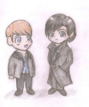 Sherlock and John Chibis by AnimePortraits