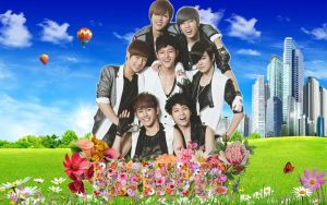 Infinite with flowers wallapper by KpopGurl