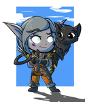 Night Elf Hunter Chibi by AcrylicSL