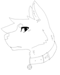 P2U canine head shot Lineart: MS PAINT SAFE by Gunner543