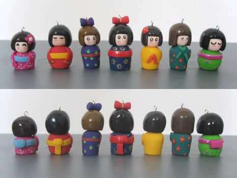Kokeshi Doll Charms + Beads by Mimi-Mushroom
