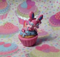 Sylveon Strawberry Cupcake by LaPetitLapearl