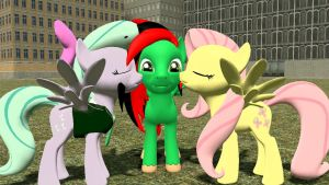 Getten kissed by two mares by SkyrimFireDragon