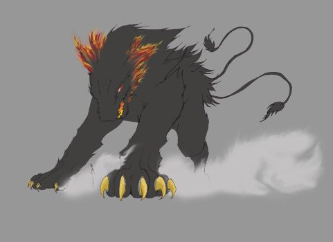 wolfy....on fire.....thing by sonsofthestorm