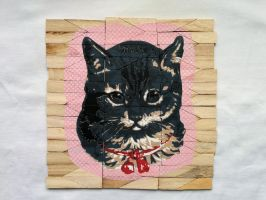 Vintage Kitty stencil on wood by prometteu