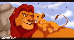 Simba And Mufasa Cuddles by Elbel1000