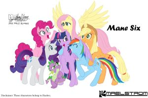 Mane Six and Spike colour version WIP 2 by meto30