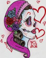Sugar Skull COLOURED VERSION by Dead-Poet-11