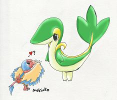Archen asking for hugs from Snivy by Negau