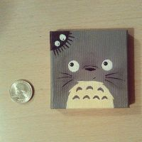 Mini Totoro Canvas by Pandageddonnn