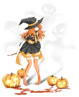 orange girl - Happy Halloween by urusai-baka
