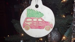Painted Pyrography Christmas Ornament by LexC7