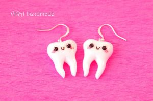 Kawaii tooth earrings by virahandmade