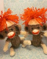 Two Sock Monkey Amigurumis Crochet Dolls by Spudsstitches