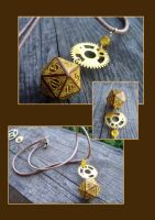 Steampunk D20 dice pedant by kickthebucket