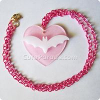 Pink and White Batty Love Necklace by CatNapCaps