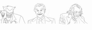 The many faces of THE JOKER lineart by BLOOD-and-LUST-87