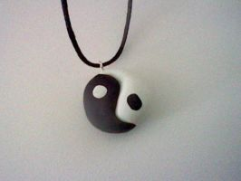 Yin Yang Clay Necklace by JamJamKyogre