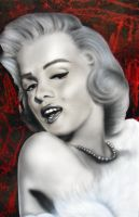 Airbrushing Marilyn Monroe big canvas by Airgone