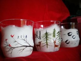 Winter Woodland characters theme - Glass set of 3 by InkyDreamz