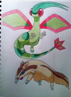 Flygon and Linoone by RedDeadRAVAGE