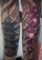 Oriental tower and the flowers tattoo by Tomyslav