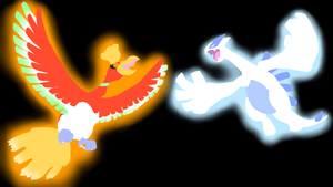 . Pokemon Backgrounds . Ho-oh and Lugia . by Flows-Backgrounds