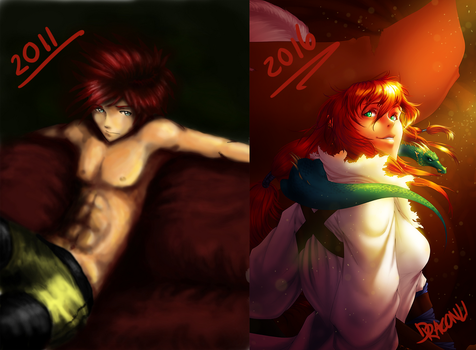 Digital Art: 5 Year Difference by Draconli