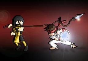Scorpion Vs Ryu by Daeron-Red-Fire