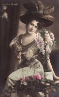 Vintage edwardian handtinted lady with flowers 002 by MementoMori-stock