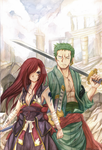 Zoro and Erza [ Color Version] by BooS2