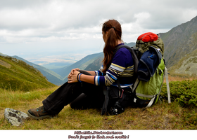 mountain tracker looking at landscape by Miha3lla