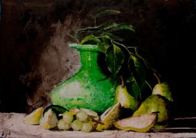 Green Vase with Pears by lloyd-art