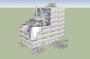 SketchUp Bombed Out Apartment Building by Obhan