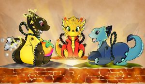 Skyward Sword: Chibi Dragons by cakecrumbs