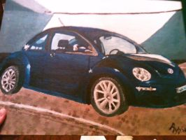 Blue Volkswagen Beetle by RytheArtist