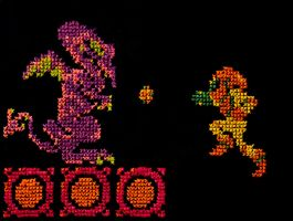Samus vs Ridley cross stitch by LittleWikis