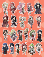 Fire Emblem: Awakening - Fem Character Sticker Set by jaruhi