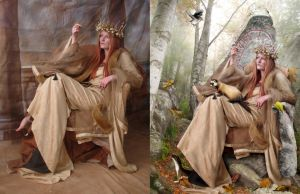 Queen of Autumn - Before After by IdaLarsenArt