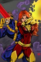 Cyclops and Phoenix by Blindman-CB