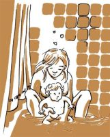 bath with my daughter by Emilie-la-vraie