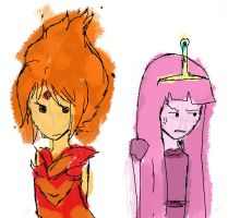 Flame Princess and Princess Bubblegum by Hawksky1227