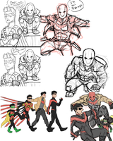 Red Hood and his birds sketch dump by JAWjakerssure