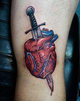 Dagger Heart Tattoo - back of the knee! by joshing88