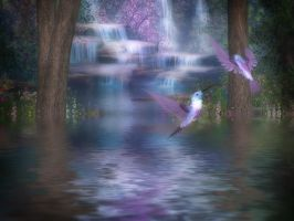 Hummingbird Falls by oldhippieart