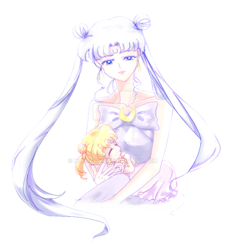 Queen Serenity and Princess Serenity by nunsaram