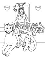 Cleopatra :Line Art: by GuardianOfTheFlame