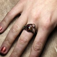 Volcano steampunk Crystal Ring by CatherinetteRings