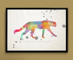 Cat watercolor print by ColourInk