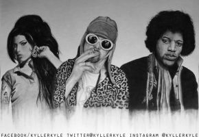 Amy Winehouse, Kurt Cobain and Jimi Hendrix by kyllerkyle